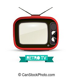 Retro Television Isolated on White Background. Vintage Red Analog TV Vector Illustration.