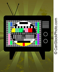Old television with test screen on grunge background