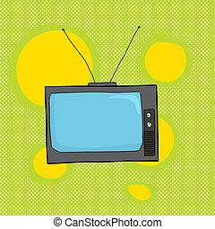 Retro Television on Green