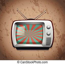 Retro television on grunge background