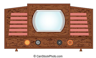 Retro television set. A classic retro television set, 1948's old television on a white background.