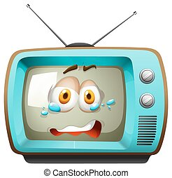 Retro television with face
