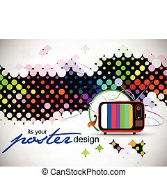 Retro television with wave circle wave background, vector...