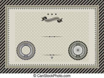 Retro template certificate with sea