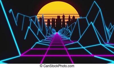 retro, terrain, paysage, boucle, lumières, sun., 80s, fond, retrowave, néon, bas, horizon, animation., ville, poly, moderne