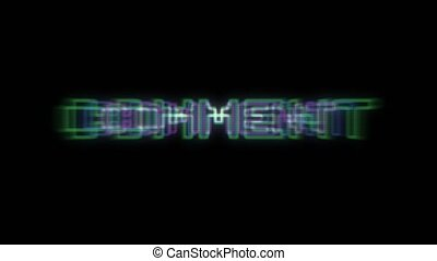 Retro text animation Comment. Text fly in center and hold. Computer text with retro glow.