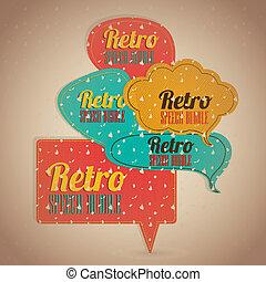 Retro text balloons - Illustration of text balloons, retro...