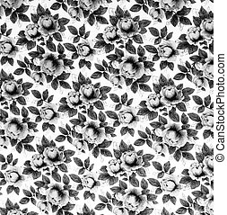 retro textile pattern with floral ornament