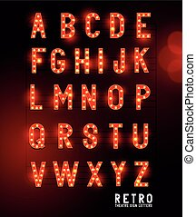Retro lightbulb glowing theatre and cinema sign letters. Vector alphabet.