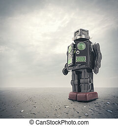 retro, tin, robot, speelbal
