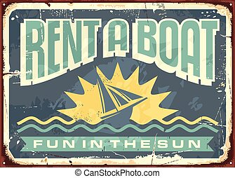 Retro tin sign design for boat rentals. Summer vacation...