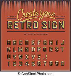 retro, tipo, font, vendemmia, tipografia