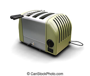 3D render of a retro styled toaster