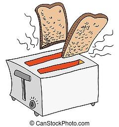 Retro Toaster Toasting Bread