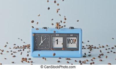 retro, tomber, beans., semaine, horloge, jour, café, parfumé...