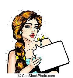 retro, tontería, hablar, panel, hermoso, charla, ilustración, niña, libro, diseño, vector, cómico, burbuja, discurso, parloteo, estilo, pequeño, cartel, moda, arte pop