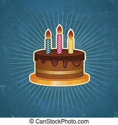 retro, torta de cumpleaños, ilustración