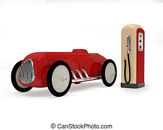 Retro toy car and  gas station