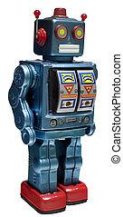 retro toy robot isolated on white
