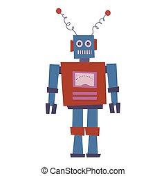 Retro Toy Robot Vector isolated vintage illustration trendy flat cartoon style