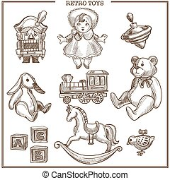 Retro toys sketch collection vector hand drawn isolated...