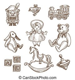 Retro toys sketch vector icons set - Retro toys sketch...