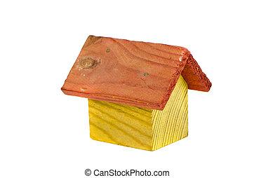 retro, træagtigt hus, model, stykke legetøj, isoleret, på hvide