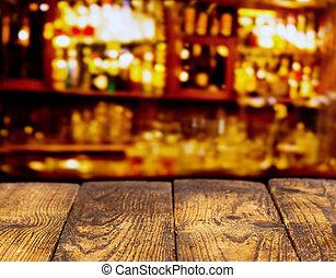 retro, træagtigt skrivebord, en bar