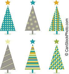retro, træer christmas, ikon, sæt