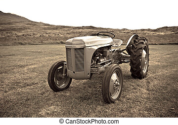 Retro Tractor on the Iceland field