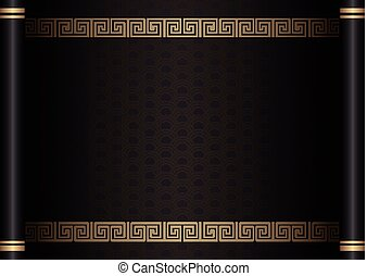 Retro traditional Chinese style black scroll paper template spiral cross frame border