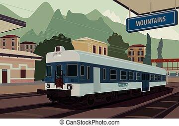 Retro train at railway station of European village