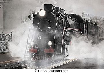 retro, train., vapor