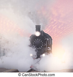 retro, train., vapor