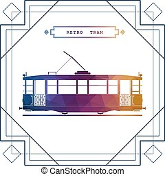 Retro tram car icon - Multicolor retro vector tram car. Mass...