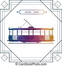 Retro tram car icon - Multicolor retro vector tram car. Mass...