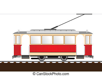 Retro tram - Illustration tram. (Simple gradients only - no...