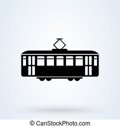 Retro Tram side view icon. tramway transportation concept. ...