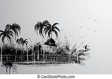 Retro Travel Background - illustration of retro travel...