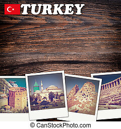 Retro travel background with old photo with place for text -...