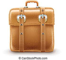 Retro travel bag made with leather belts. Eps10 vector...