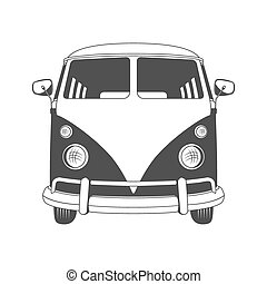 Retro Travel bus. Front view. - Retro travel bus in front ...