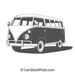 Retro Travel bus with shadow. Side view. - Retro travel bus...