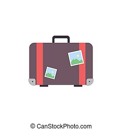 Retro travel suitcase wiht stickers - flat vector illustration isolated on white background.