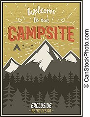 Retro travel typography poster with camping symbols - tent, mountains, forest. Vector typography design. Hand drawn Lettering poster with mountain, sunbursts for website or print