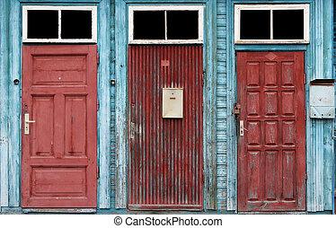 retro, tre, porte, rosso