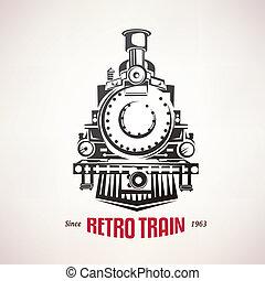 retro, trein, ouderwetse , symbool, embleem, etiket, mal