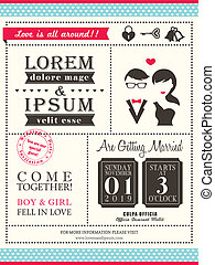 Retro Trendy wedding invitation card template