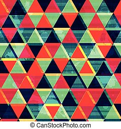 retro triangle mosaic seamless pattern with grunge effect