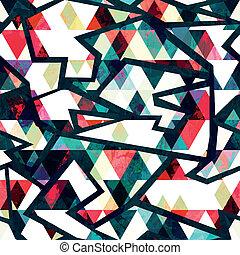 retro triangle seamless pattern grunge effect